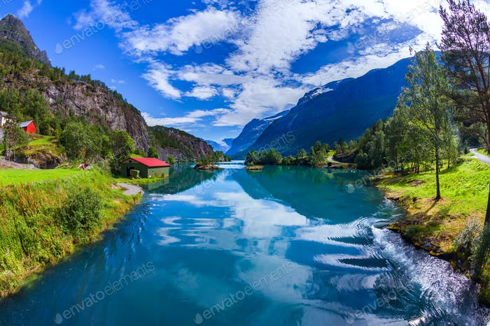 Beautiful Nature Norway Lovatnet lake.