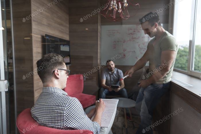 team meeting and brainstorming in small private office