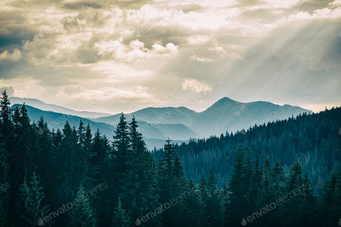 Inspiring Mountains Landscape, beautiful summer day in Tatras, P