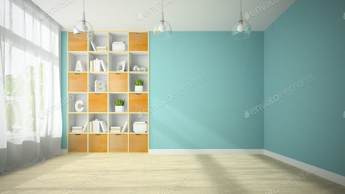 Empty room with niche shelfs 3D rendering