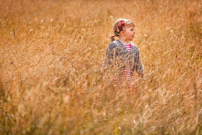 Little girl in the high grass
