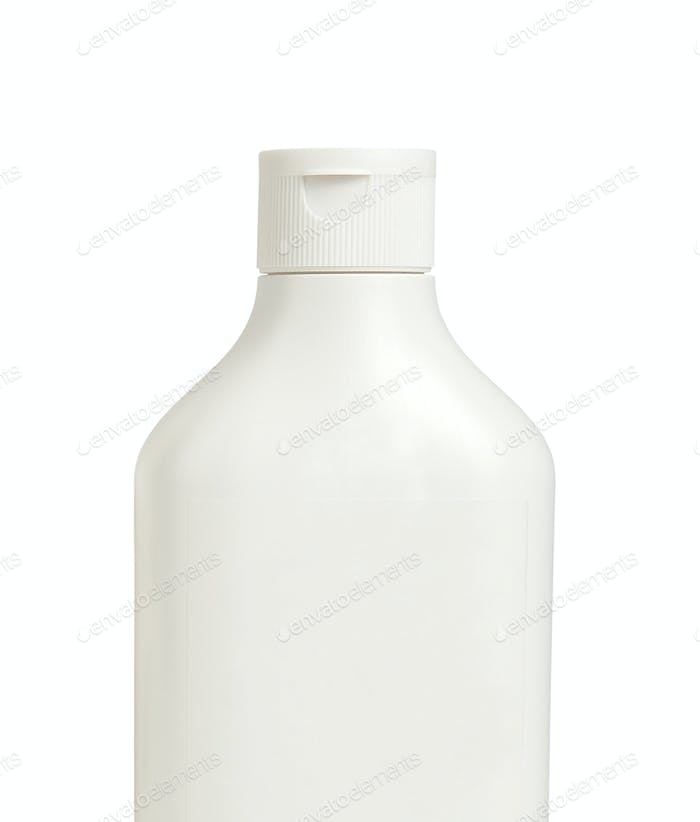 white shampoo bottle isolated on white