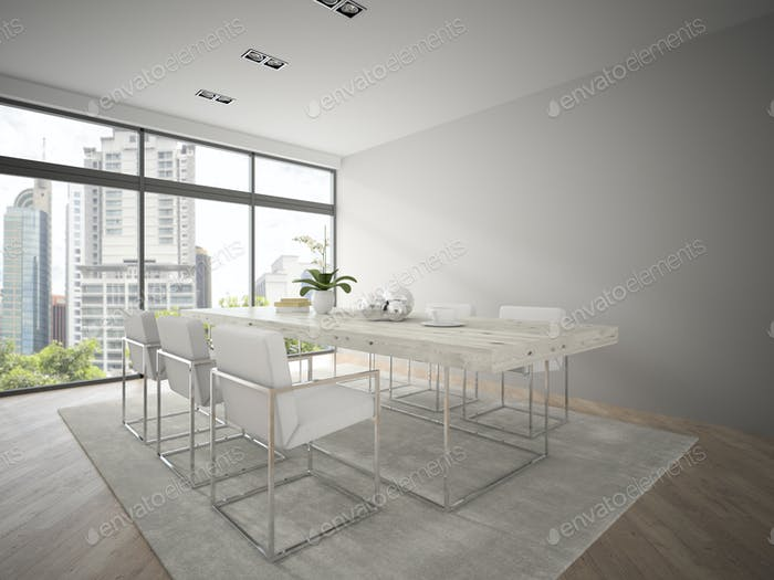 Interior of modern design loft with big table 3D rendering 3