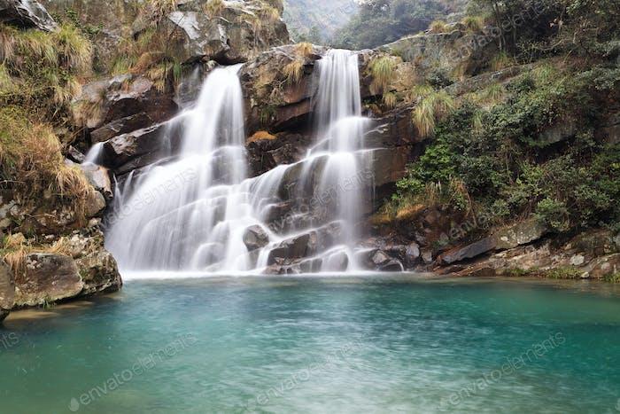 beautiful double waterfall
