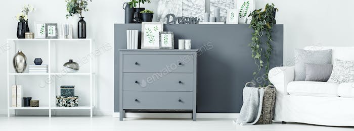 Grey cupboard in room