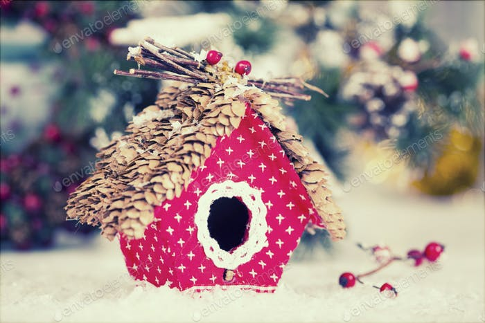 small birdhouse christmas decoration - Bird House Christmas Decoration
