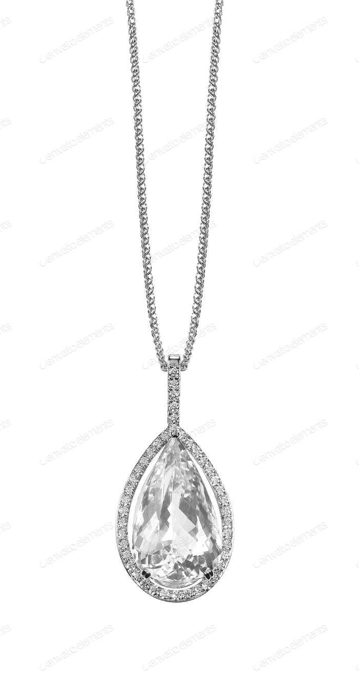Diamond necklace pendant drop pear shape gemstone halo necklace on a chain