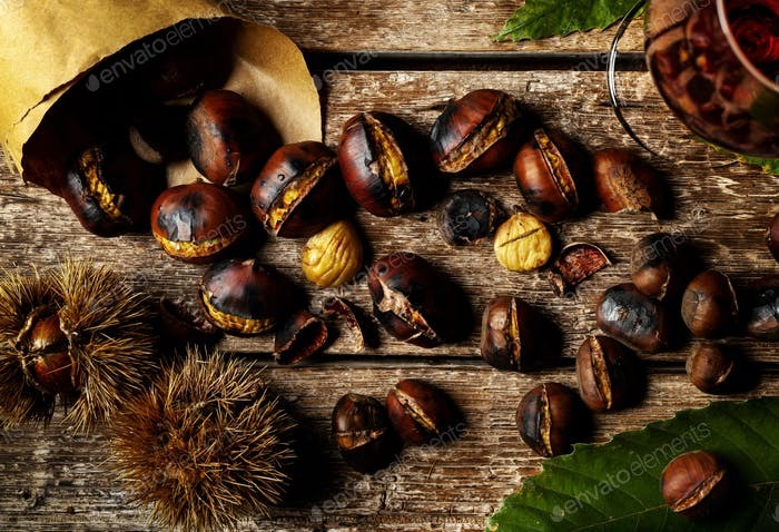 Roasted chestnuts in paper cone.
