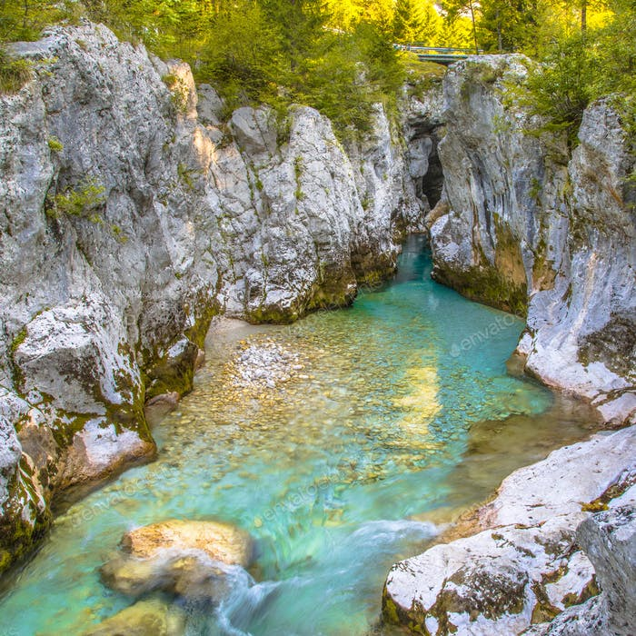 Vivid blue Soca river landscape
