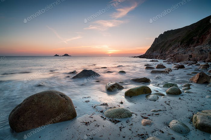 Sunset at Porth Nanven Beach
