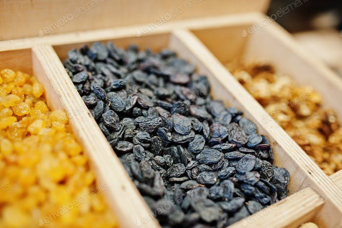 Raisins on the shelf of a supermarket or grocery store.