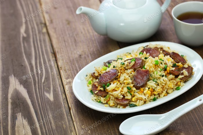 chinese sausage fried rice, xiang chang chao fan