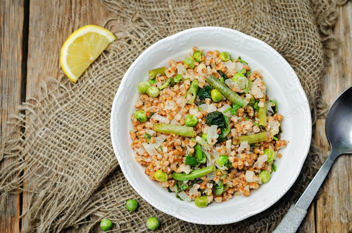 Buckwheat with green peas and beans