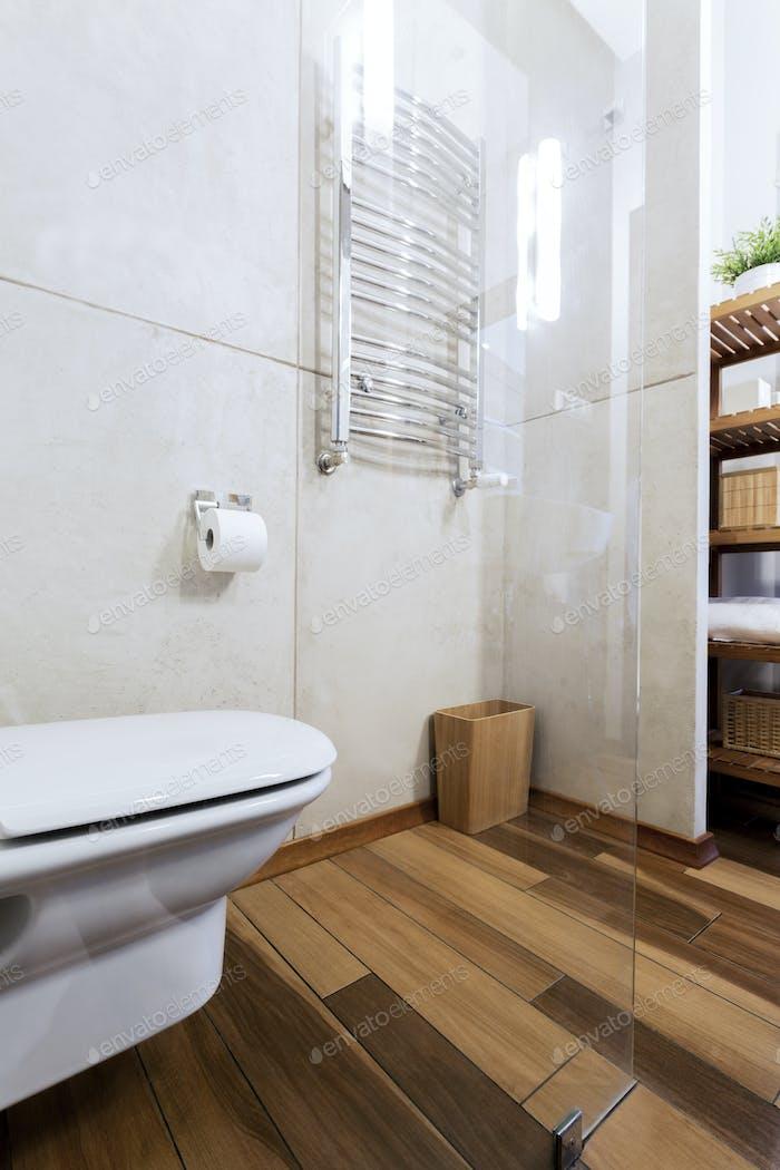 Minimalist bathroom with toilet seat