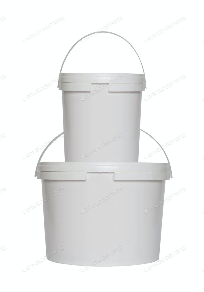Two white plastic buckets isolated