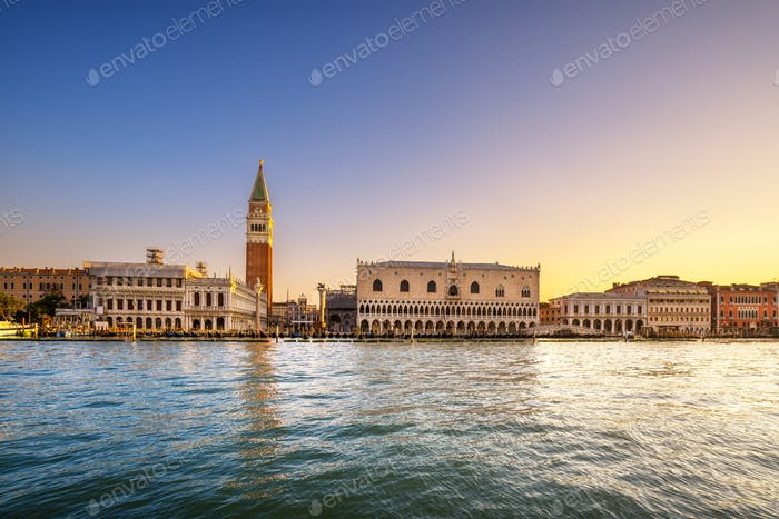 Venice landmark at dawn, Piazza San Marco with Campanile and Dog