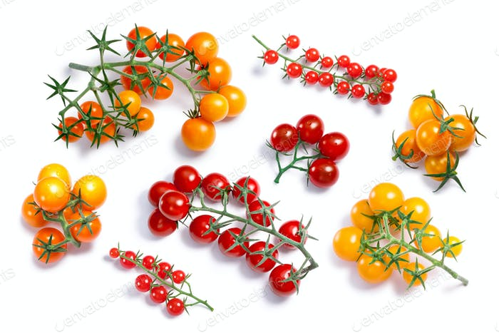 Yellow, red cherry tomatoes, top view, paths