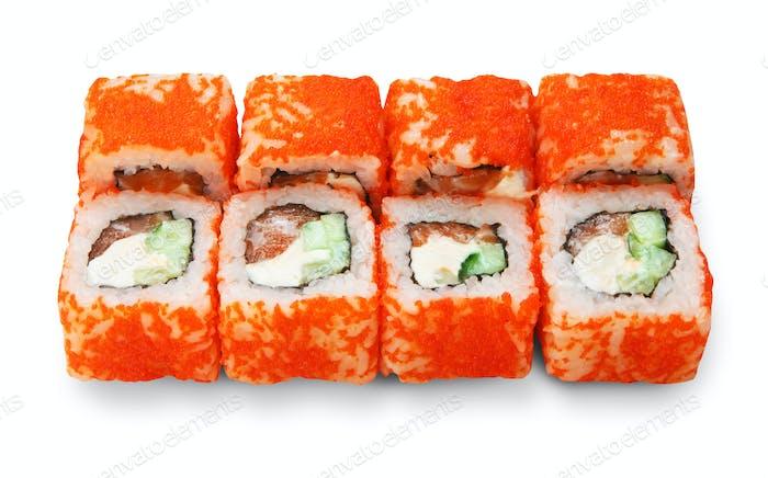 Set von Sushi-Rollen isoliert auf weiß