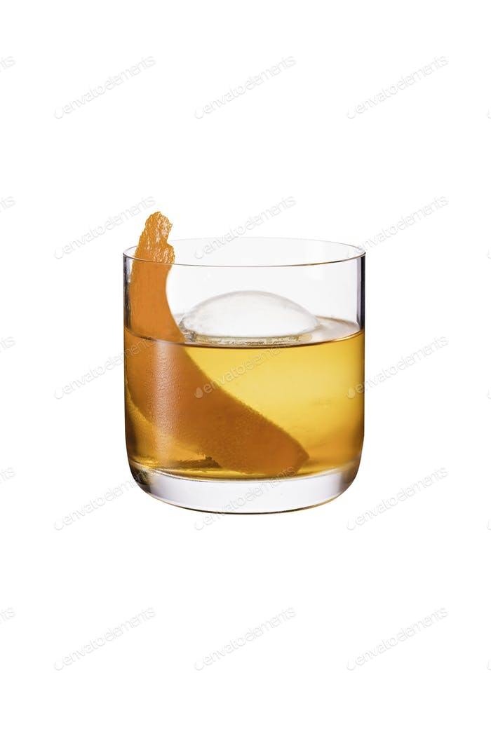 Thumbnail for Refreshing Bourbon Old Fashioned Cocktail on White