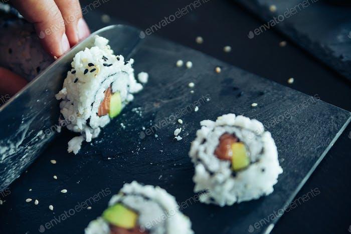 Sushi Being Cut