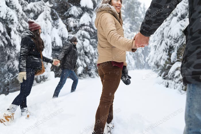 Friends Group Two Couple Snow Forest Young People Walking Outdoor