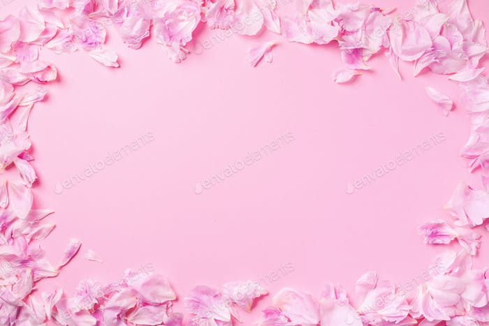 Pink background with peony petals. Top view. Floral print. Abstract blooming texture. Spring concept