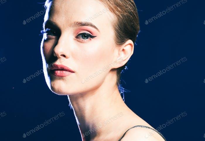 Woman night lights party glamour fashion portrait beautiful female