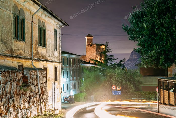Terracina, Italy. Castle Castello Frangipane In Background In Ev