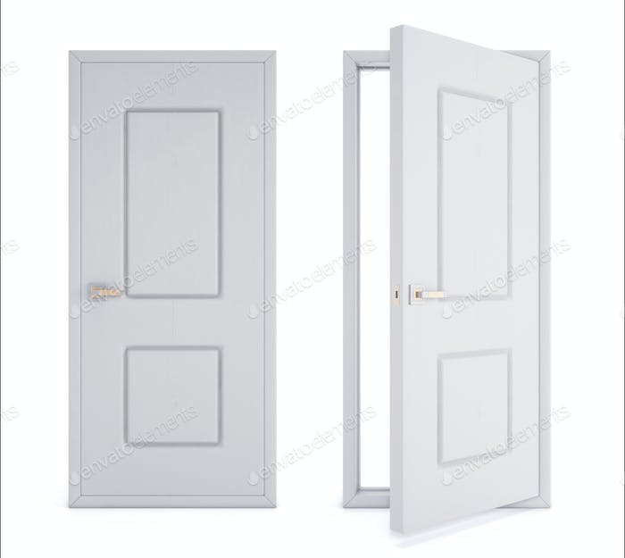 Close and open door isolated on white background. 3d rendering image.