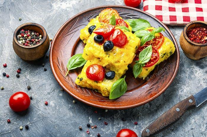 Polenta Italian cornmeal dish