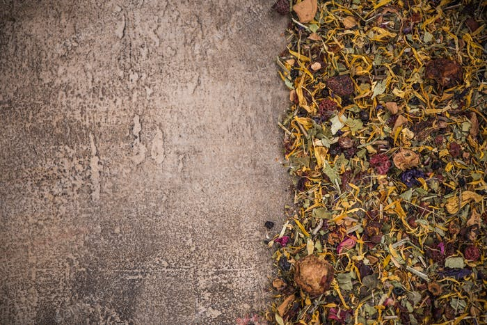 Aromatic tea border background on concrete slate