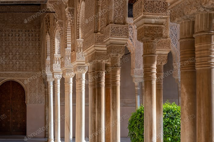 Moorish arches in The Alhambra, Granada, Spain
