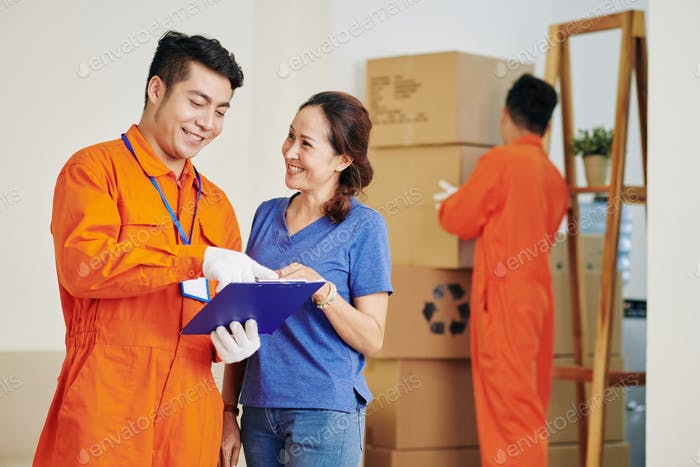 Woman Using House Moving Service