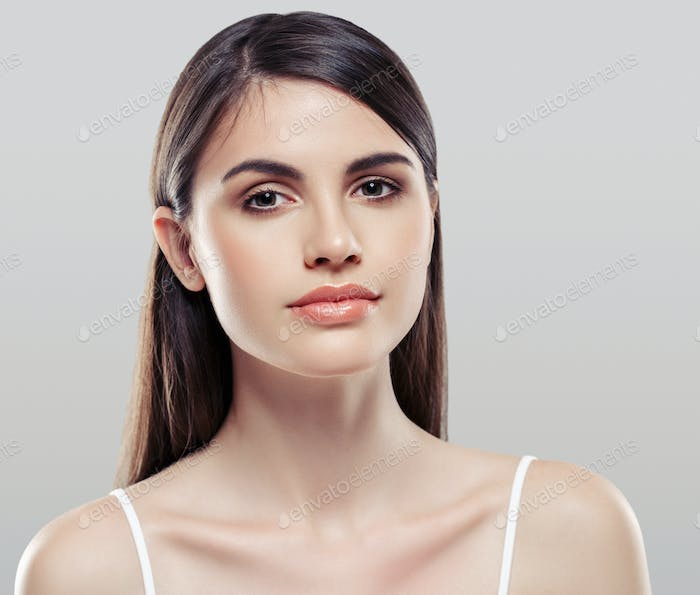 Woman beauty portrait isolated on gray skin care