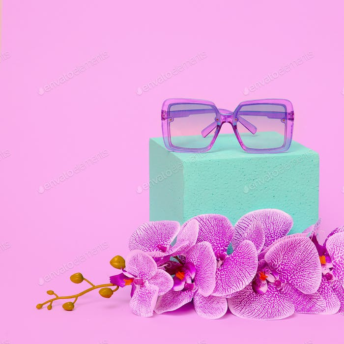 Sunglasses in Floral composition. Fashion Accessories Concept