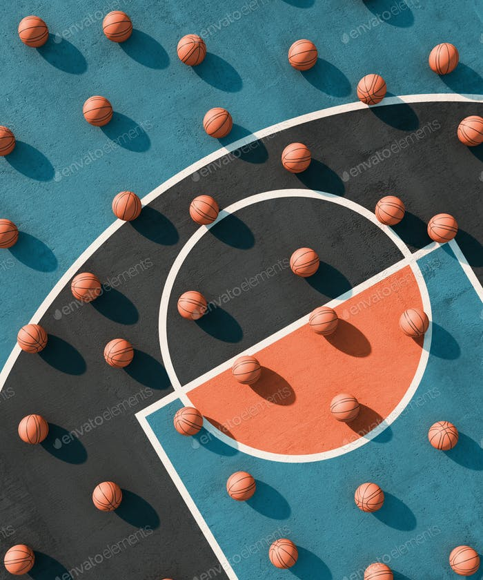 Abstract sport geometry composition. Basketball Court poster Background. 3d render