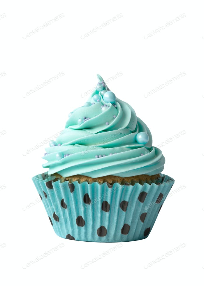 Turquoise cupcake on white