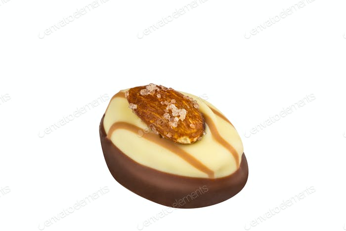 Chocolate morsel on white background
