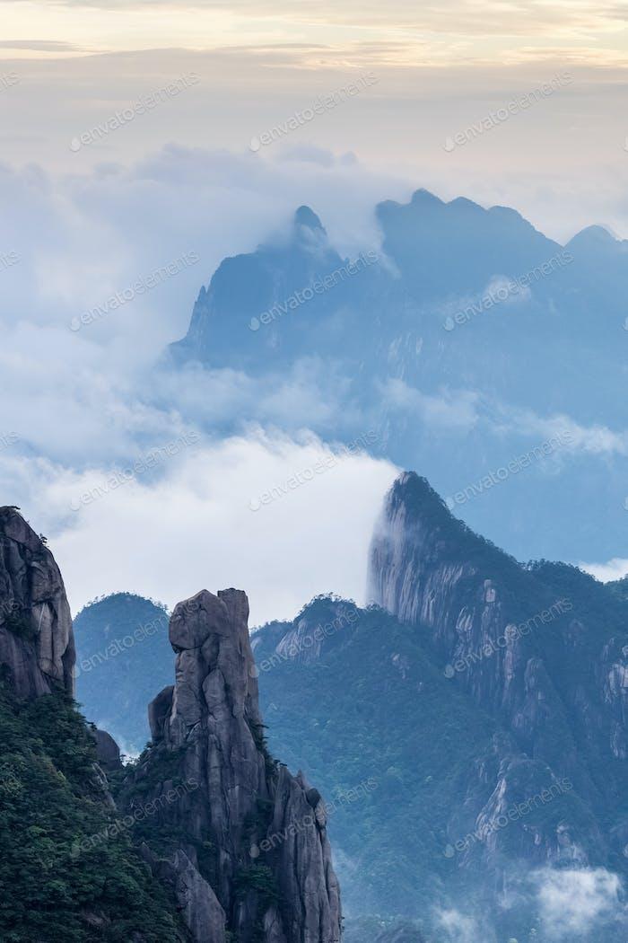 beautiful sanqing mountain at dusk