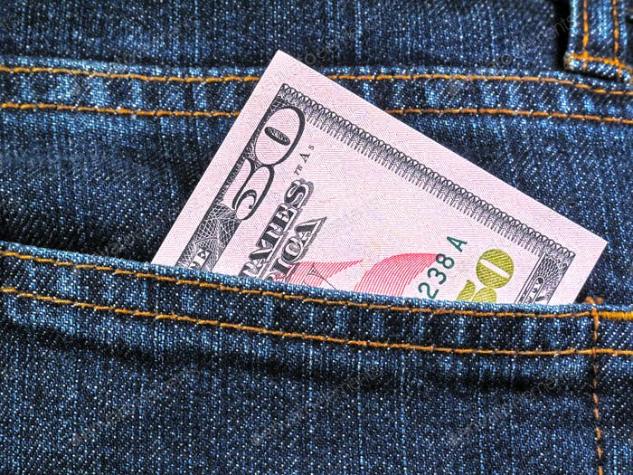 Fifty dollars in jeans pocket