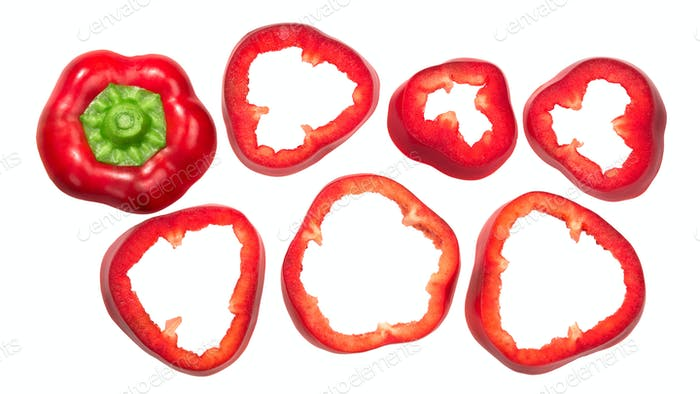Sweet bell pepper slices, top view