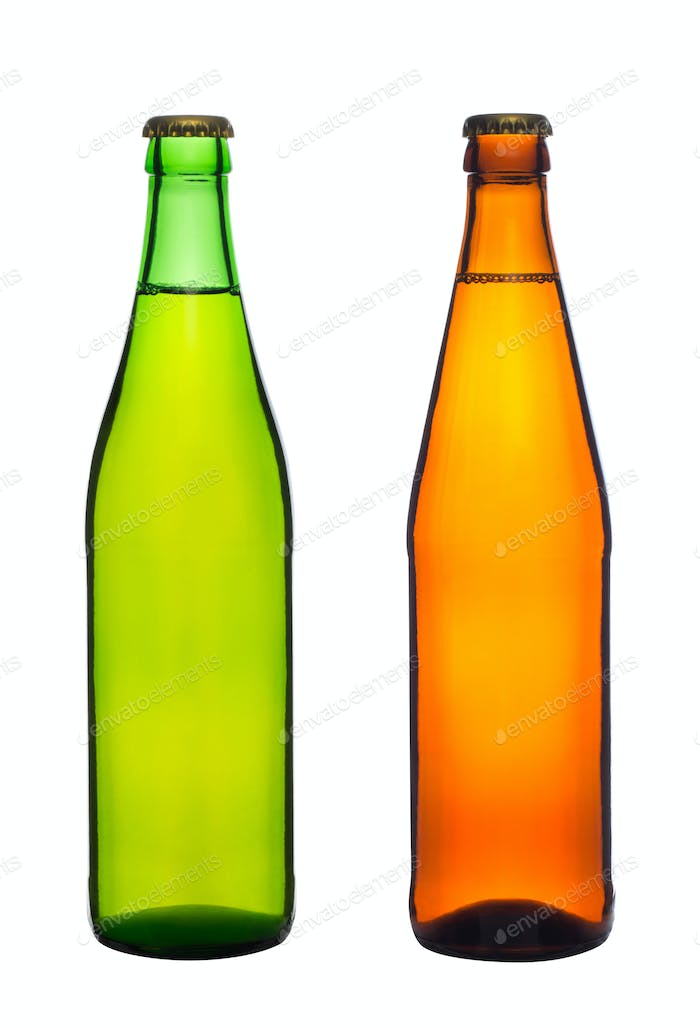 two bottles with beer isolated on white background