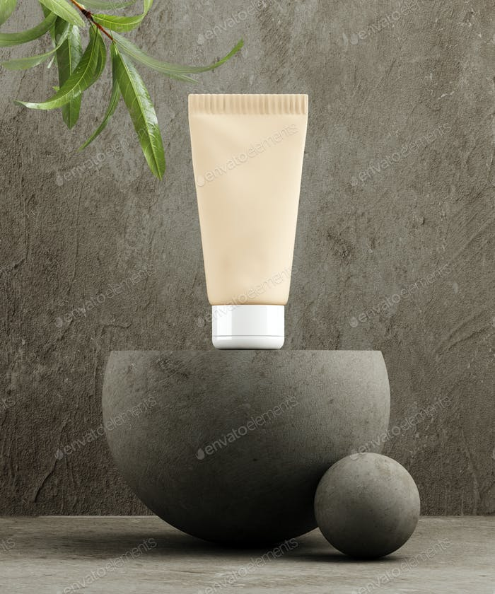 Pedestal for natural cosmetic product presentation. Stone and wood cylinders with plant leaves.