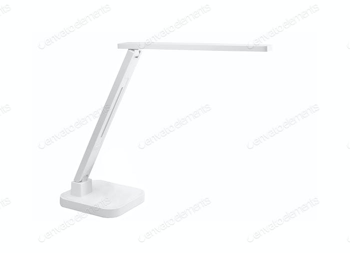 Nice modern red desk lamp isolated on white background