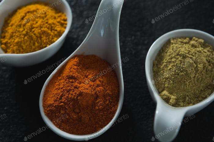 Various type spices on spoon