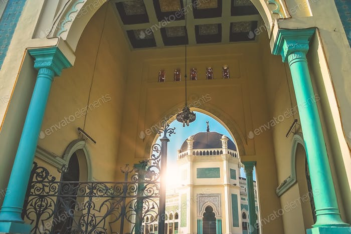 Entrance to the Great Mosque of Al-Mashun in Medan