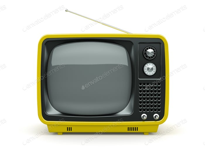 Yellow retro TV on white background