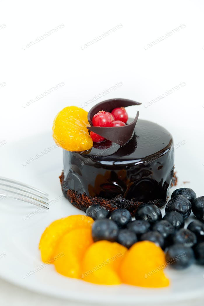 Schokolade und Obstkuchen