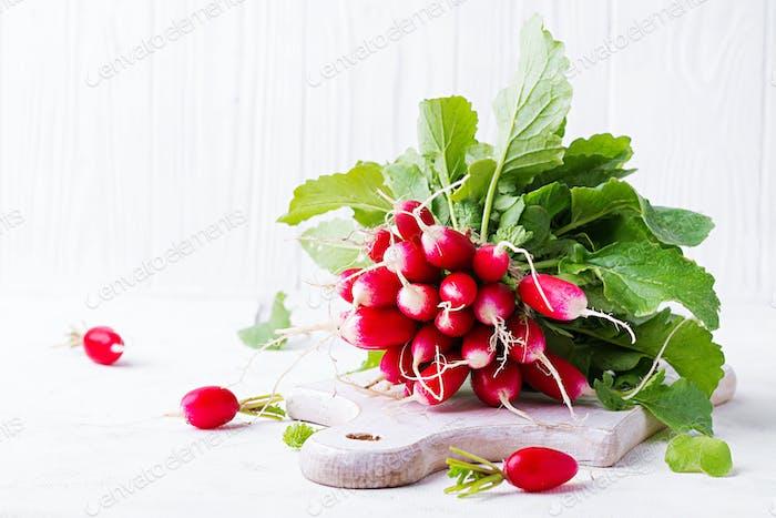 Spring harvest red radish on light background.
