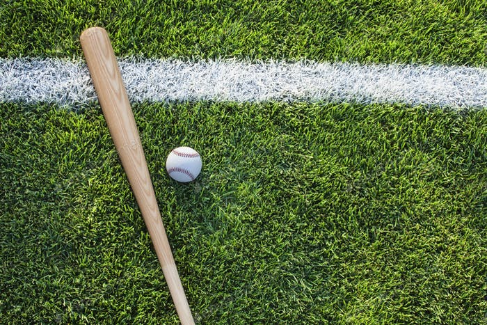 Baseball Bat and Ball on Grass Field with Stripe Viewed from Above